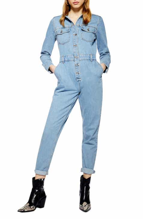 Topshop Slouchy Denim Boilersuit by TOPSHOP