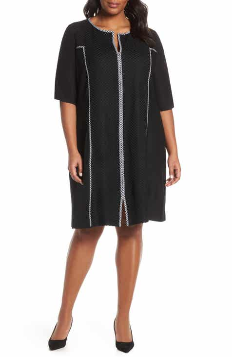 Ming Wang Gingham Trim Shift Dress (Plus Size) by Ming Wang