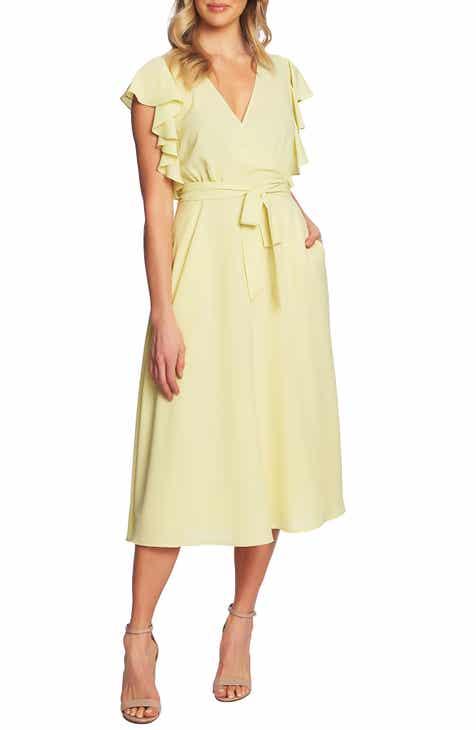 1.STATE Ruffle Detail Wrap Midi Dress