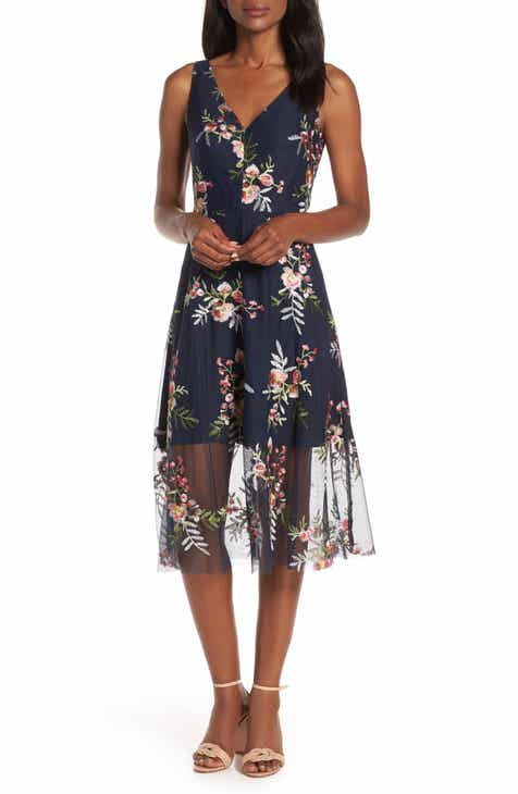846952d7769 Vince Camuto Floral Embroidered Mesh Midi Dress (Regular   Petite)