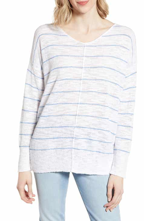 f141b81dfefa6 Lou   Grey Stripe Textured V-Neck Sweater