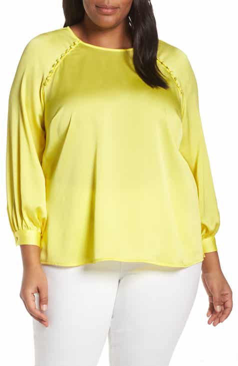5c500169eac Vince Camuto Button Shoulder Bubble Sleeve Satin Blouse