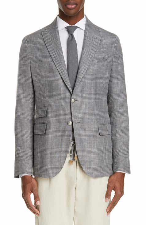 fc07cc0ebc8 Eleventy Trim Fit Plaid Linen Blend Sport Coat
