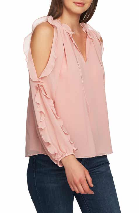 35757b1744c23 STATE Ruffle Cold Shoulder Top