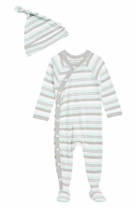 Burt's Bees Baby Sixties Stripe Organic Cotton Footie & Hat Set (Baby)