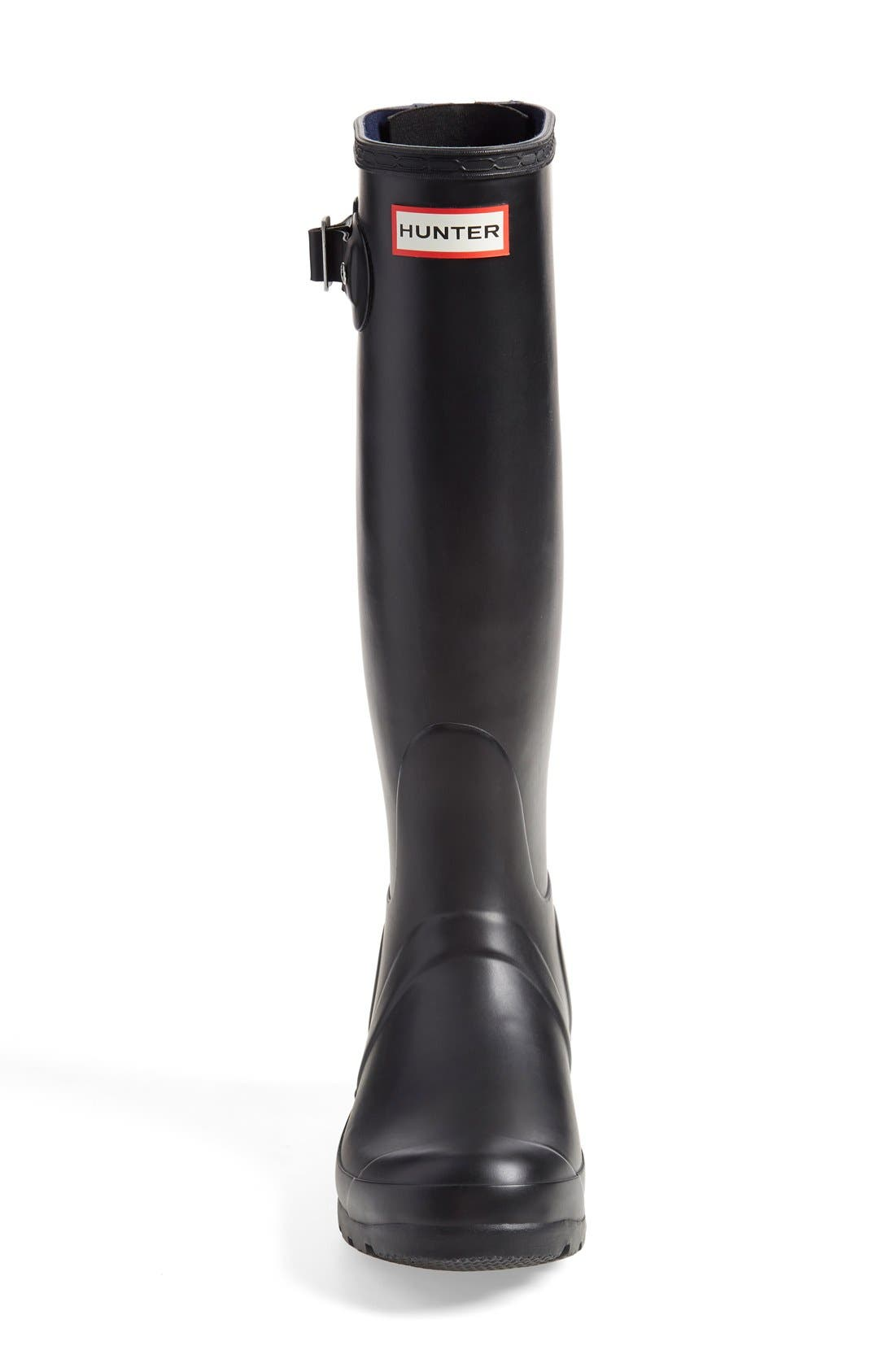 'Tall' Back Zip Rain Boot,                             Alternate thumbnail 4, color,                             Black/ Midnight