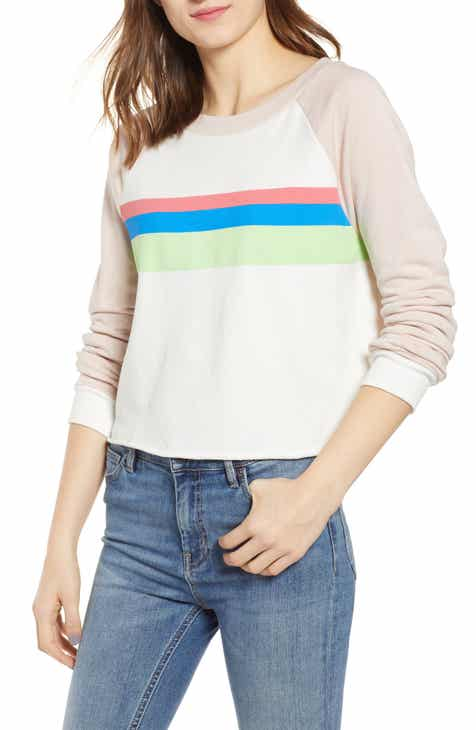 Wildfox Beach House Mellow Stripe Crop Cotton Sweatshirt by WILDFOX