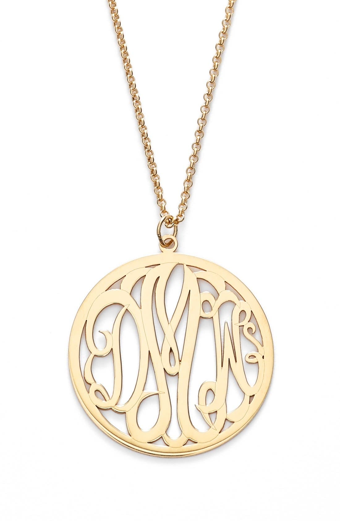 Personalized 3-Letter Monogram Necklace,                             Main thumbnail 1, color,                             Gold