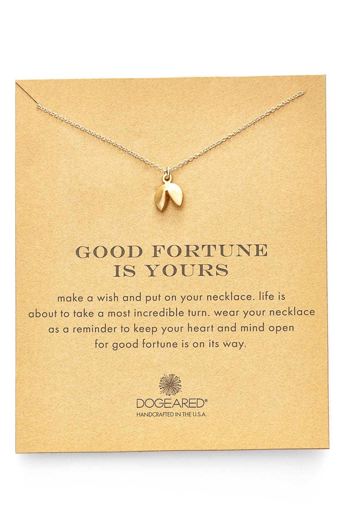 Alternate Image 1 Selected - Dogeared Fortune Cookie Pendant Necklace