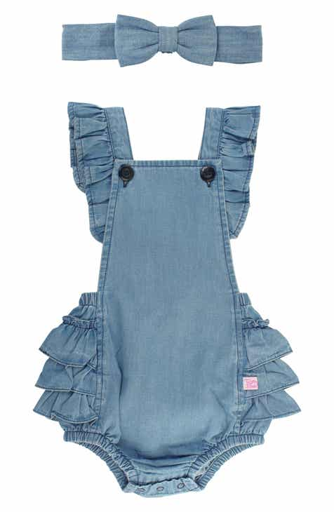 91039d9e125 RuffleButts Flutter Sleeve Denim Romper   Head Wrap Set (Baby).  42.50.  Product Image