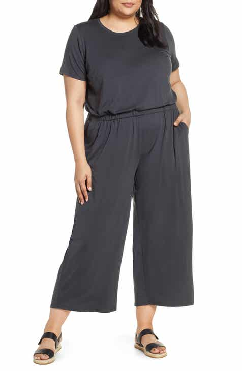 Eileen Fisher Stretch Tencel® Lyocell Jumpsuit (Plus Size) by EILEEN FISHER
