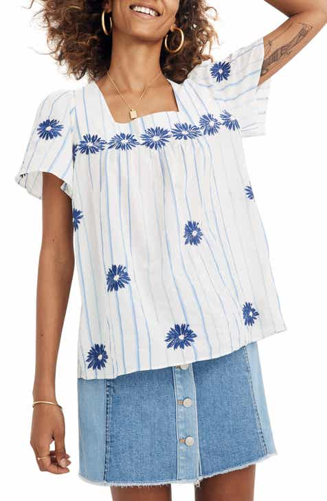 16fc26fcd68 Madewell Floral Embroidered Stripe Butterfly Top (Regular   Plus Size)