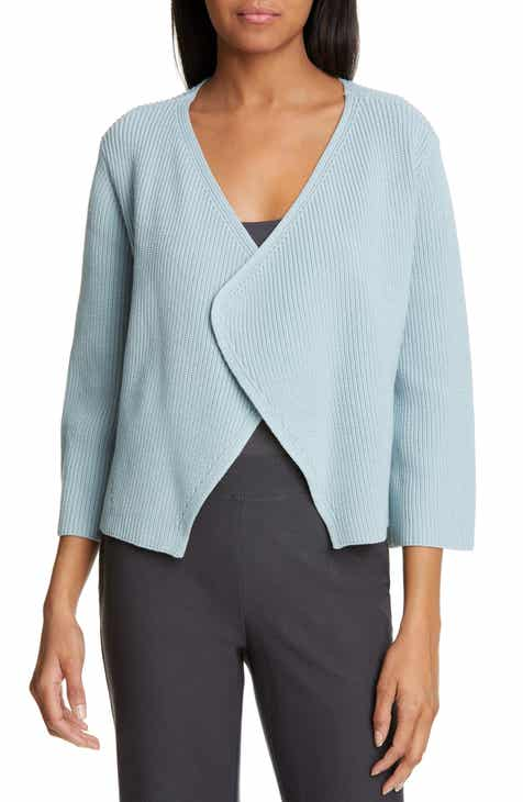 Eileen Fisher Bell Sleeve Organic Cotton Blend Cardigan (Regular & Petite) by EILEEN FISHER