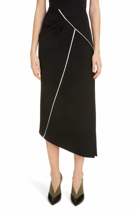 Givenchy Contrast Piping Asymmetrical Wool Skirt by GIVENCHY