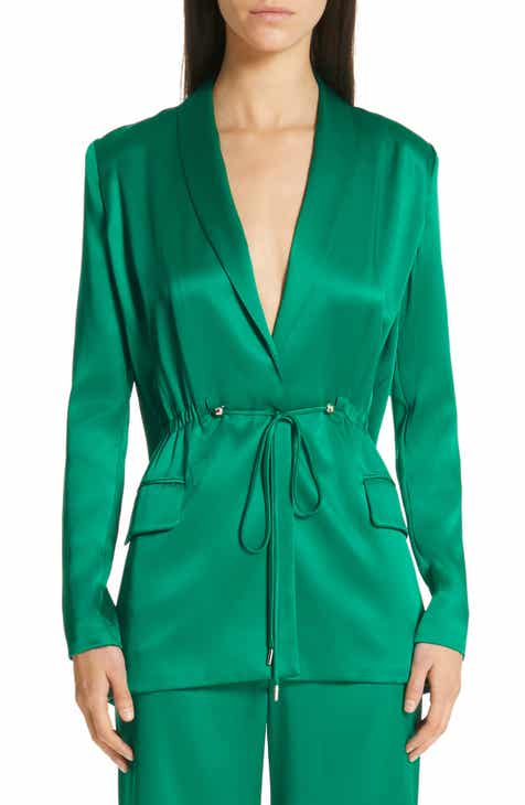 CUSHNIE Open Back Silk Charmeuse Jacket by CUSHNIE