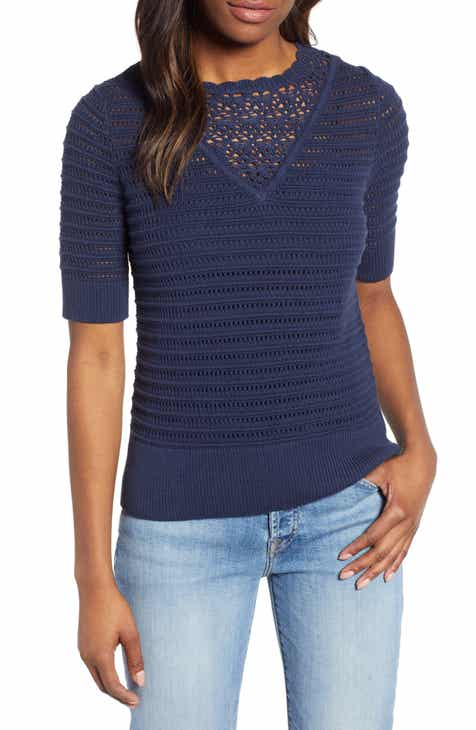 80b976d08d55d Lucky Brand Crochet Pointelle Sweater