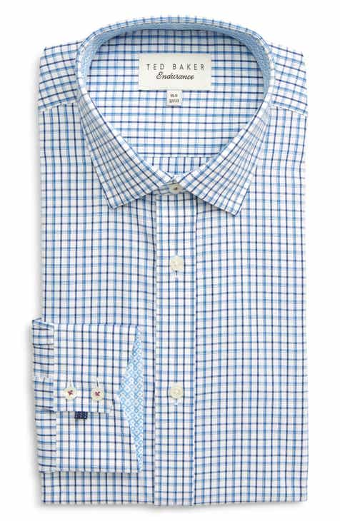 dfed6a202fc96 Ted Baker London Whaele Trim Fit Check Dress Shirt