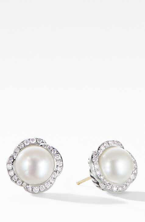 df2b4000b5831 David Yurman Continuance Pearl Earrings with Diamonds