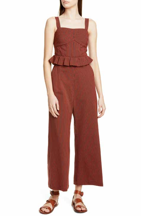 Sea Shiloh Peplum Waist Crop Jumpsuit