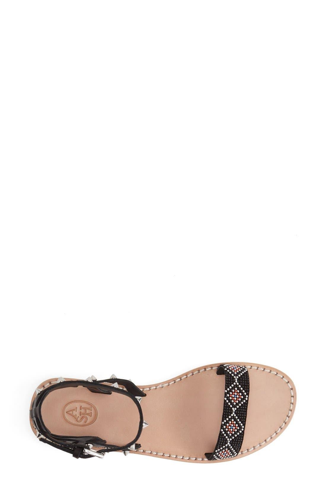'Pearl' Studded Leather Sandal,                             Alternate thumbnail 3, color,                             Black/ Black