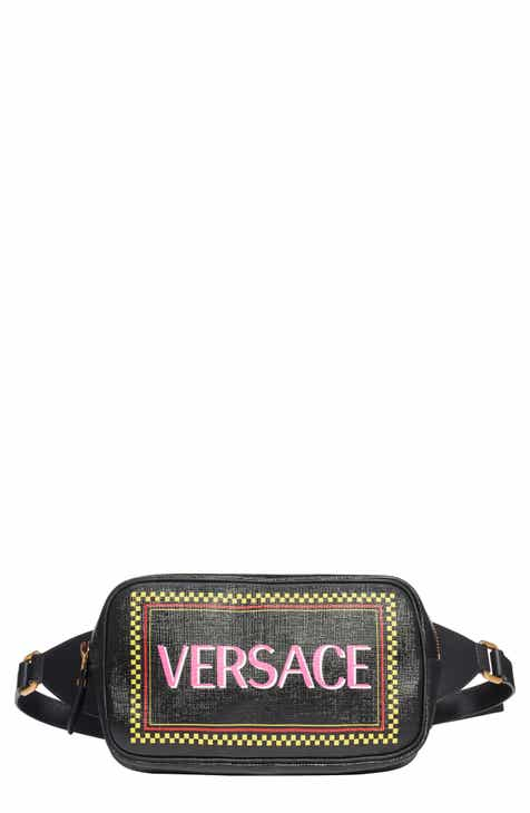 f1f817e40132 Versace Glossy Logo Leather Belt Bag