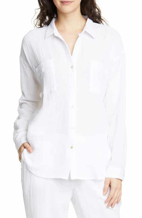 28e1ef920711bb Eileen Fisher Crinkled Cotton Button Up Blouse (Regular   Petite)
