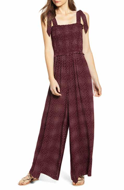 24881604cbe Polka Dot Smocked Wide Leg Jumpsuit (Plus Size)