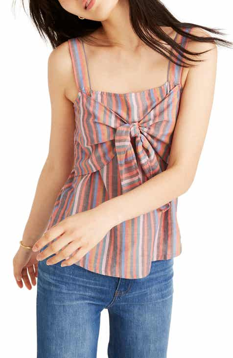 39cf49bf20e449 Madewell Rainbow Stripe Tie Front Cami Top