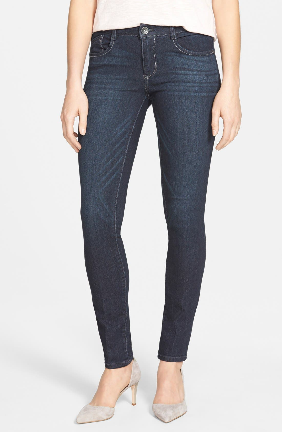 Super Smooth Stretch Denim Skinny Jeans,                         Main,                         color, Dark Navy