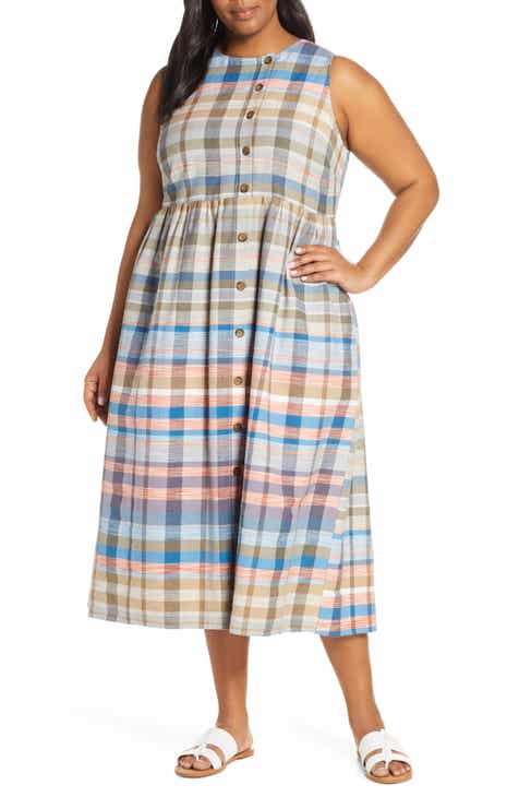 Caslon® Plaid Button Midi Dress (Plus Size)