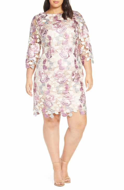 40f747fcb12 Eliza J Embroidered Lace Cocktail Sheath Dress (Plus Size)