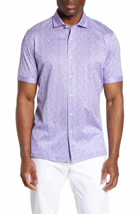 Bugatchi Regular Fit Floral Knit Sport Shirt