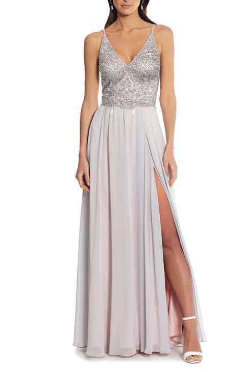 e085e7dc14556 Xscape Embellished Bodice V-Neck Chiffon Evening Dress