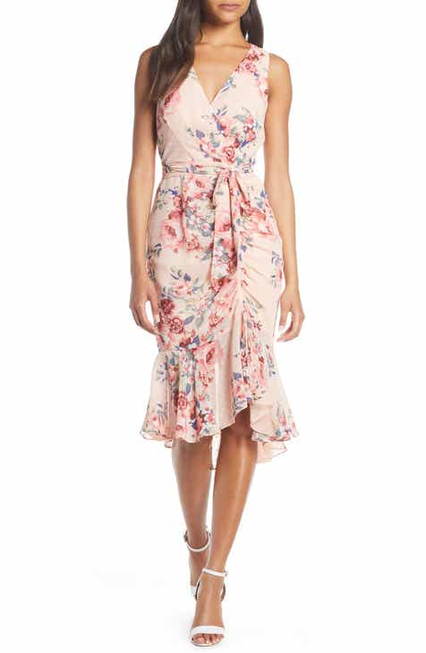 7646f976 Eliza J Floral Ruched Chiffon Faux Wrap Dress (Regular & Petite)
