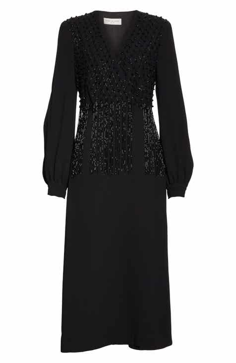 Dries Van Noten Dove Embellished Long Sleeve Wrap Dress by DRIES VAN NOTEN
