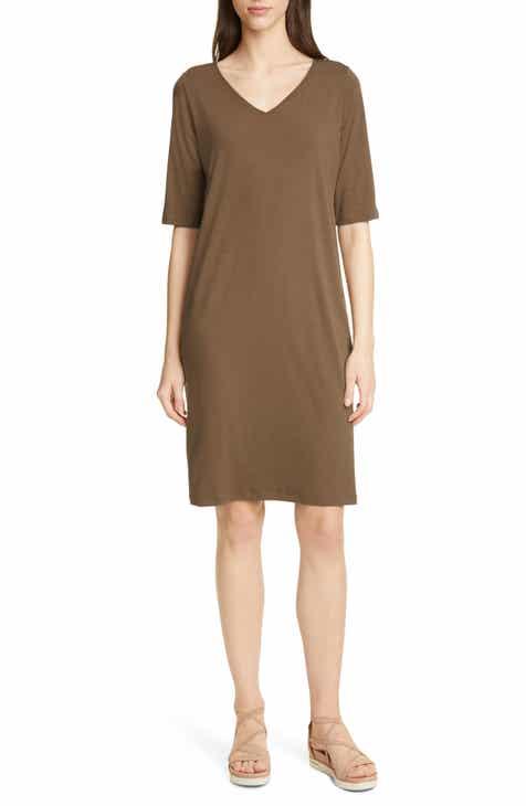 03b3def9f8933 Eileen Fisher Stretch Tencel® Lyocell Shift Dress (Regular   Petite)