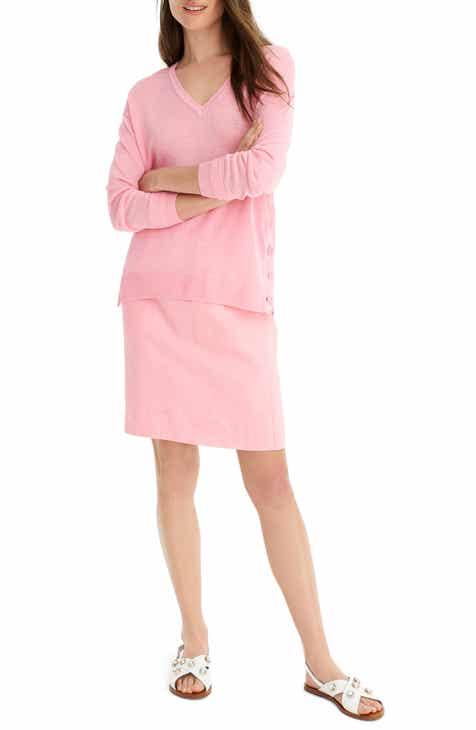 29e830fd9308 J.Crew Side Button Linen Blend V-Neck Sweater (Regular   Plus Size)