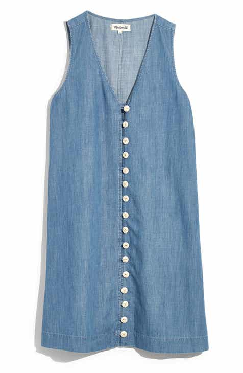 076fd397a3f29 Madewell Easy Sleeveless Button Front Denim Dress (Regular & Plus Size)