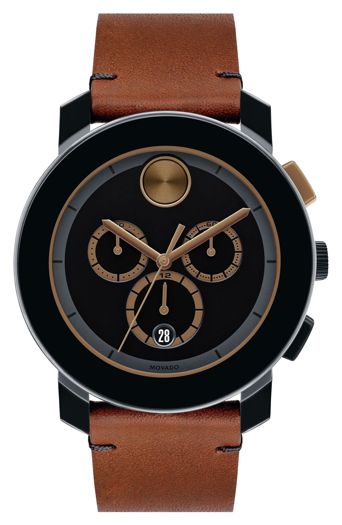 Main Image - Movado 'Bold' Chronograph Leather Strap Watch, 44mm