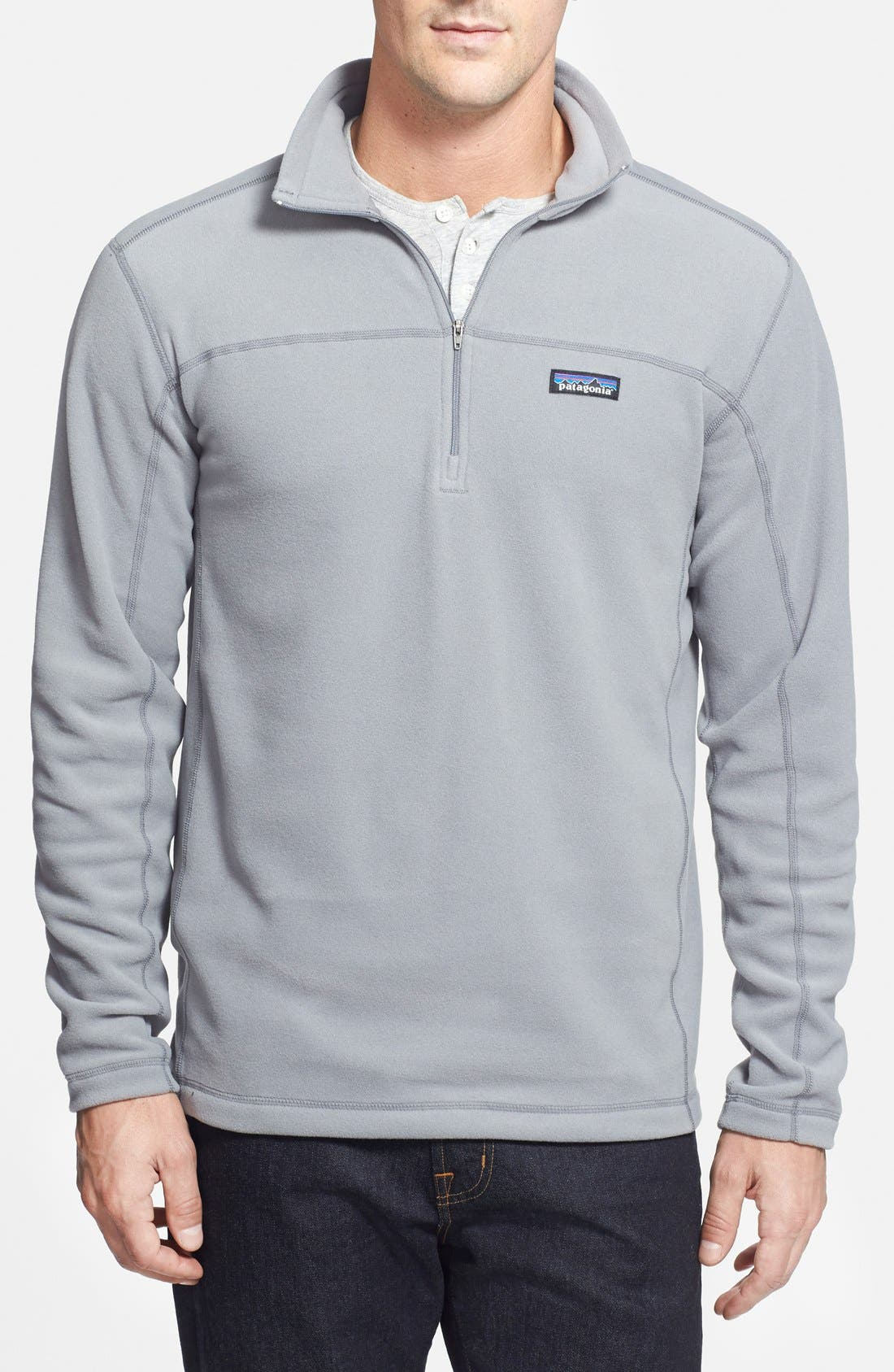 'Micro D' Quarter Zip Front Pullover,                         Main,                         color, Feather Grey