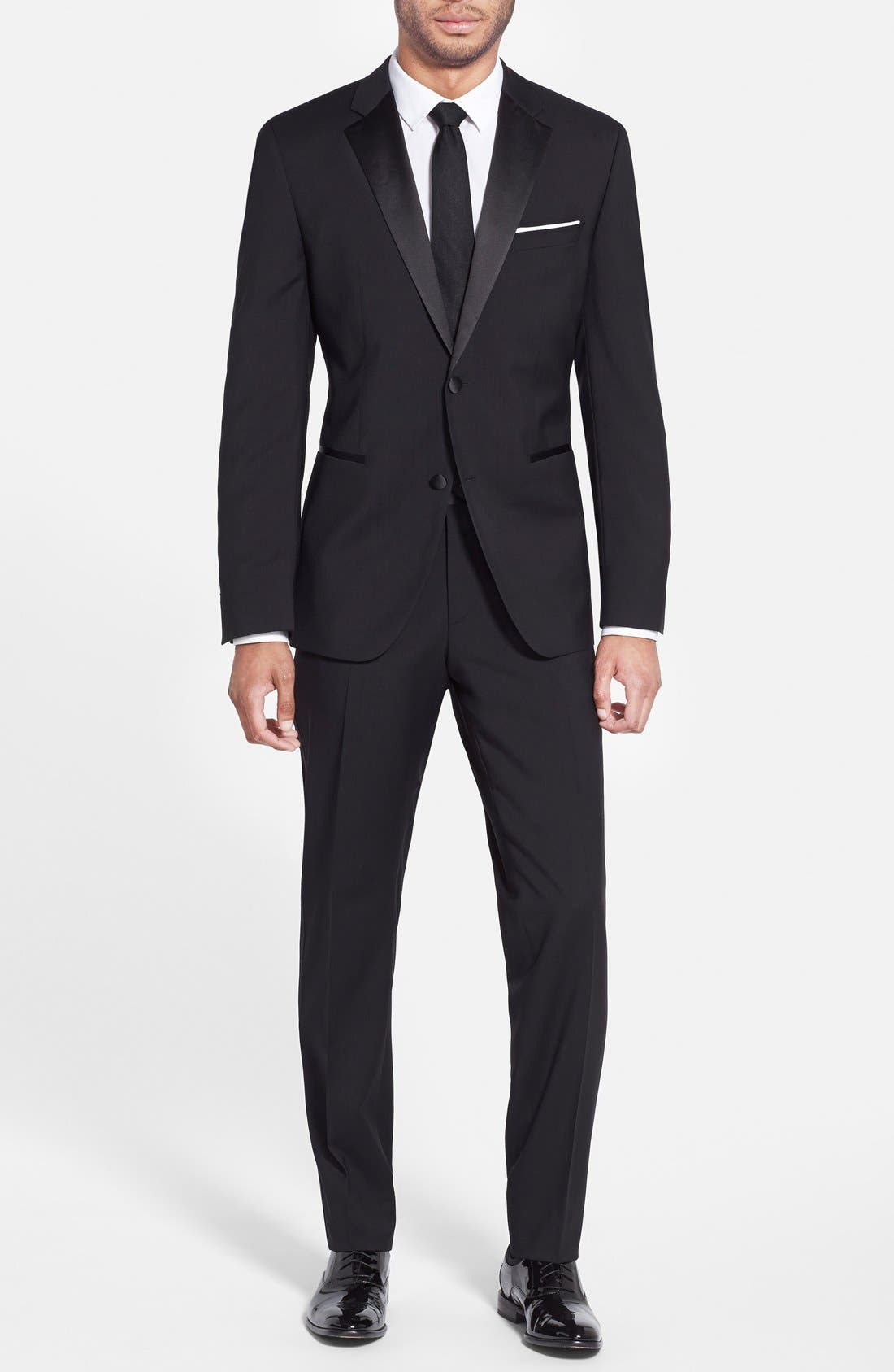 The Stars/Glamour Trim Fit Wool Tuxedo,                         Main,                         color, Black