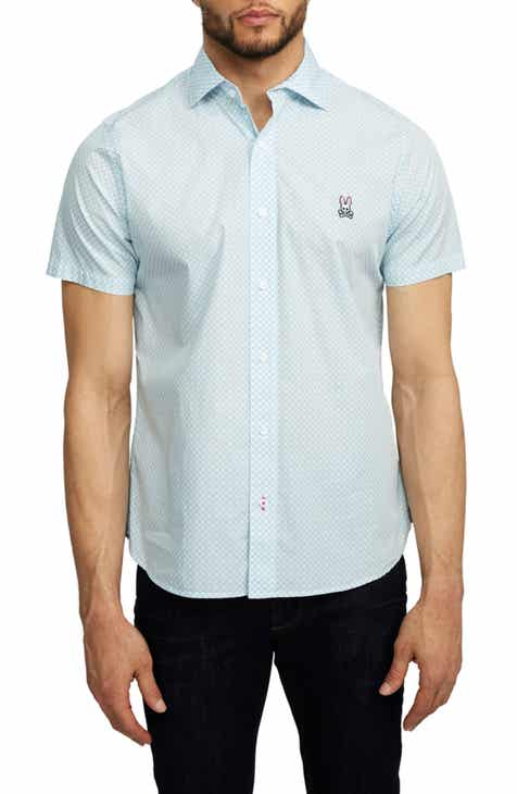 f84cda3b Psycho Bunny Welford Short Sleeve Pima Cotton Button-Up Sport Shirt