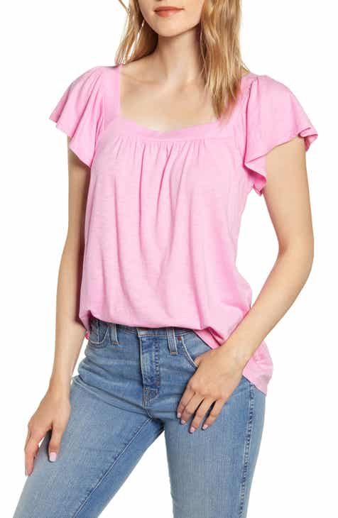 45140737856d Malta Square Neck Ruffle Sleeve Cotton Blend Tee (Regular & Petite)