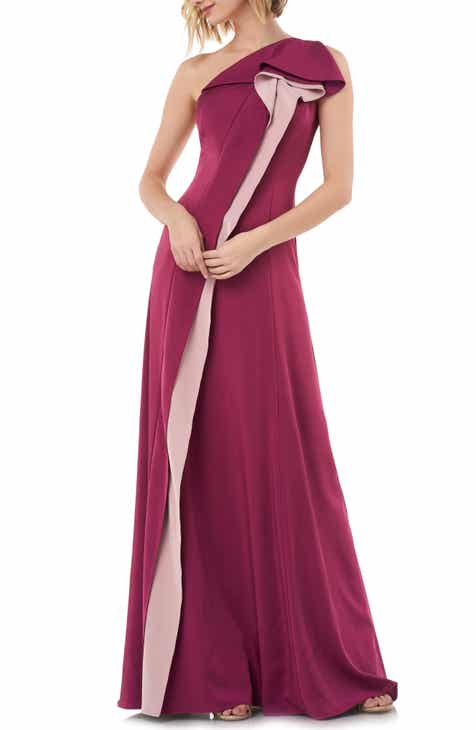 Kay Unger One-Shoulder Contrast Ruffle Faille Gown