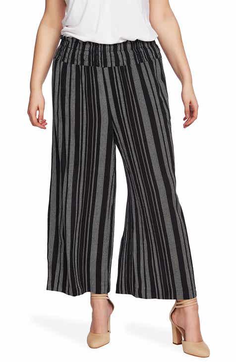 72457303df 1.STATE Checker Grid Stripe Smocked Waist Pants (Plus Size)