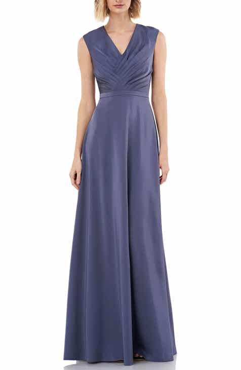 Kay Unger Pleated V-Neck Stretch Faille Gown