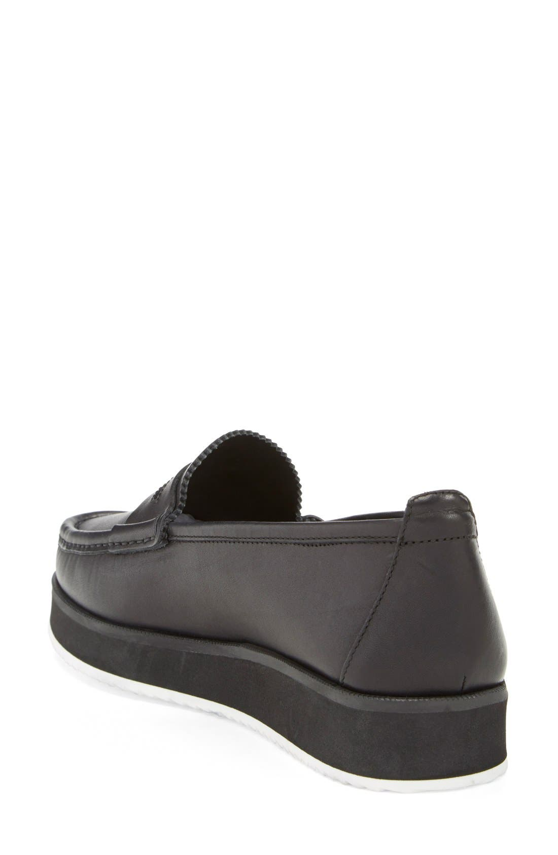 'Tanya' Penny Loafer,                             Alternate thumbnail 2, color,                             Black Leather