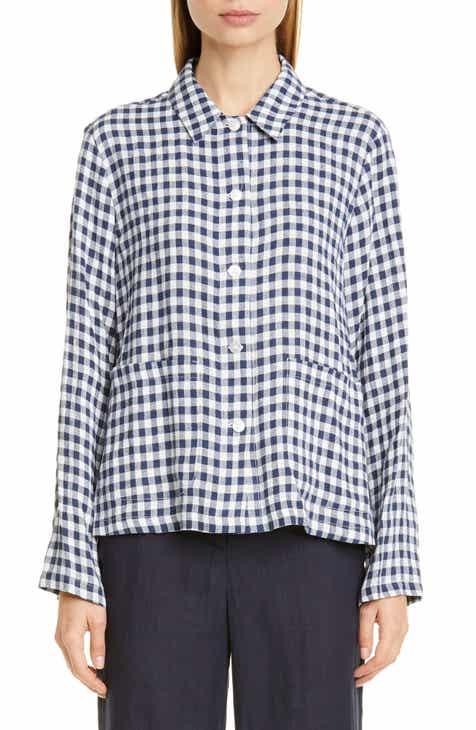 Mansur Gavriel Gingham Linen Worker Shirt
