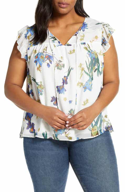 8e9005a9 CeCe Watercolor Iris Flutter Sleeve Blouse (Plus Size)