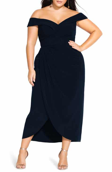 21d9a993f21a City Chic Rippled Love Off the Shoulder Sheath Dress (Plus Size)